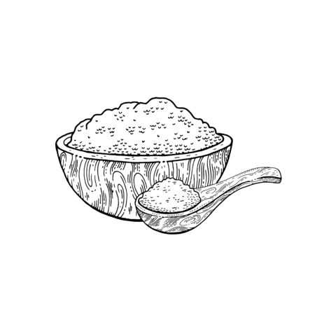 Wooden bowl spoon with food - sketch flour, rice, sea salt, spirulina, spice, potato, oat, sugar, porridge. Doodle hand drawn vector illustration, vintage breakfast drawing, isolated white background
