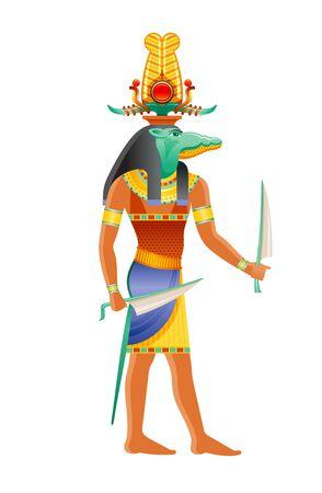 Sobek Egyptian god, Nile crocodile deity. Ancient Egyptian god of pharaonic power, fertility, military prowess, crocodile in shuti sun crown. 3d realistic vector illustration isolated white background
