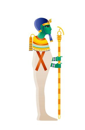 Ptah Egyptian god, demiurge of Memphis, creator deity. Ancient Egyptian god of craftsmen, architects. God with green skin in muumy shroud with Djed pillar. 3d realistic vector illustration isolated
