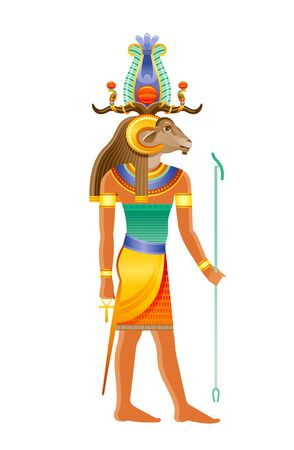 Khnum Egyptian god, deity of Nile source, god with ram, sheep head in atef crown. Creator god of human body at potter wheel from clay. 3d realistic vector illustration isolated on white background Ilustrace