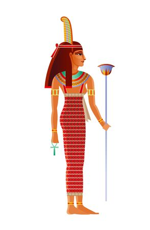 Maat Egyptian goddess, deity with ostrich feather. Ancient Egyptian god of truth, balance, order, harmony, law, morality, justice. 3d realistic lion vector illustration isolated white background Illustration