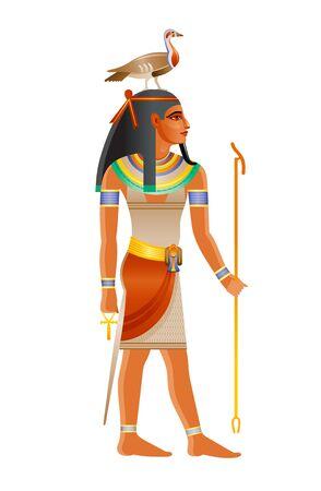 Der altägyptische Gott Geb. Gottheit der Erde mit Gans auf dem Kopf. 3D-Cartoon-Vektor-Illustration. Alte Wandmalerei-Kunstikone aus Ägypten. Geb Erdgott isoliert auf weißem Hintergrund