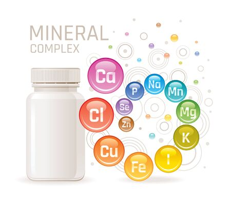 Multi mineral vitamin complex supplement. 3d mockup with empty bottle minerals. Calcium iron zinc selenium iodine magnesium. Trendy health multivitamin complex poster. Icon isolated white background