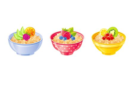 Oats bowl. Oatmeal breakfast cup, oat grain porridge with fruit berry. 3d realistic icon. Cartoon style muesli, flake. Healthy sweet food design. Vector illustration isolated on white background