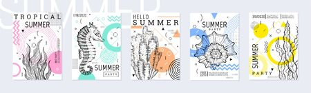 Summer party poster set, geometric memphis style. Cool trendy flyer with type. Sea ocean elements for travel banner, music cover, fashion print. Weed vector illustration, coral, mint, pink color