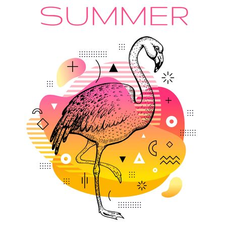 Hello summer poster with hand drawn flamingo bird, trendy line art concept in spectrum rainbow color for music party cover, fashion event flyer, t-shirt print. Tropical vector illustration background Illusztráció