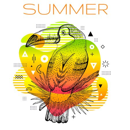 Hello summer poster with hand drawn toucan bird, trendy line art concept in spectrum rainbow color for music party cover, fashion event flyer, t-shirt print. Futuristic vector illustration background Illusztráció