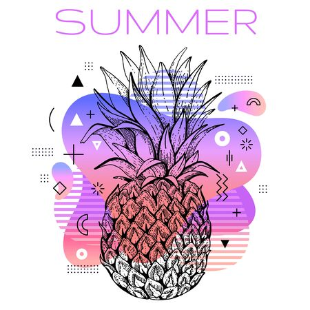 Hello summer poster with hand drawn pineapple, trendy line art concept in spectrum rainbow color for music party cover, fashion event flyer, t-shirt print. Futuristic vector illustration background