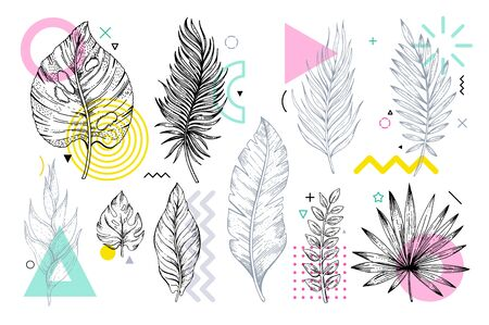 Summer tropical leaf set with geometric memphis style shapes. Cool trendy elements for travel banner, music cover, fashion print. Palm, banana, rainforest plants vector illustration isolated on white