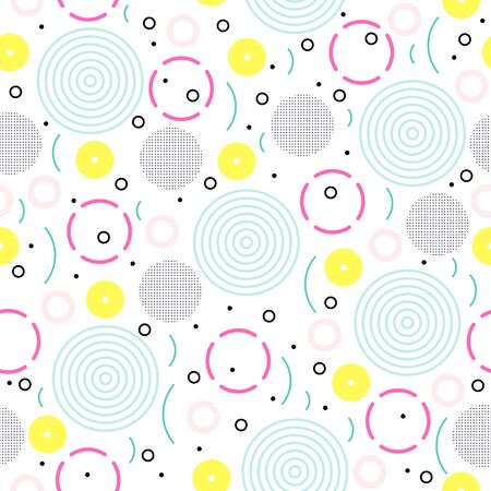 Seamless Memphis pattern of geometric shapes in 80s 90s style for textile print, fabric, wrapping paper, wallpaper, music cover, card. Hipster poster, bright color background. Vector illustration