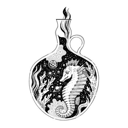 Surreal tattoo sea horse animal design concept. Black line seahorse in coral art, hipster boho style. For tattoo, coloring book, poster, t-shirt print. Tribal engraved vector isolated white background