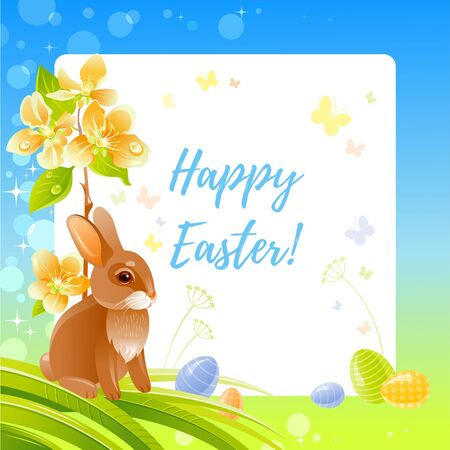 Happy Easter greeting card with bunny, blue sky frame, cherry blossom flower, Easter egg, fresh green grass. Cute cartoon flyer design. Vector illustration with rabbit, floral element of egg hunt game Illustration