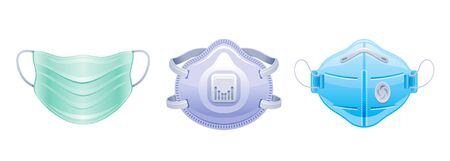 Corona virus Covid 19 protect respirator mask icon set. Coronavirus prevention, medical, surgical safety mask elements collection. Vector illustration isolated on white background. Illustration