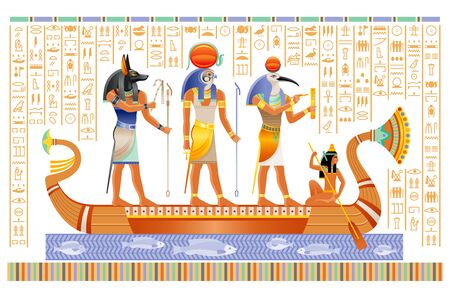 Egyptian papyrus with gods in boat. Anubis, Ra, Thoth, ancient Egyptian deities in old historical paper art. Vector illustration isolated on white. Ancient Egypt papyrus with hieroglyph script set. Illustration