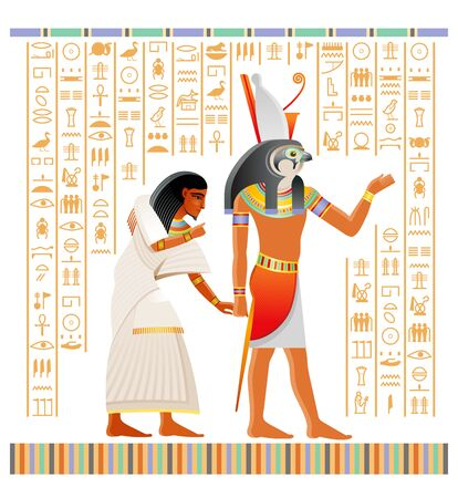 Egyptian papyrus from Book of Dead with afterlife ritual in Duat. Osiris judgment illustration. God Horus with falcon head holding human soul. Vector ancient Egypt papyrus, hieroglyph text background