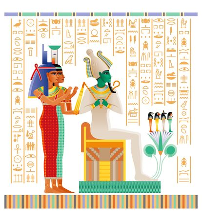 Egyptian papyrus from Book of Dead with afterlife ritual in Duat. Osiris judgment vector illustration. God Osiris, goddesses Isis and Nephthys. ancient Egypt papyrus with hieroglyph text Illustration