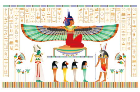 Egyptian papyrus with gods and goddess. Isis with wings, Horus, Osiris, ancient Egyptian deitiy in old historical paper art. Vector illustration isolated on white. Ancient Egypt papyrus hieroglyph set