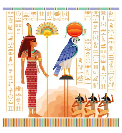 Egyptian papyrus with illustration from Tomb of Nakht in Luxor, afterlife Duat vector. Gods Ra and Anubis, Maat goddess with ostrich feather and fan. Vector ancient Egypt papyrus with hieroglyph text