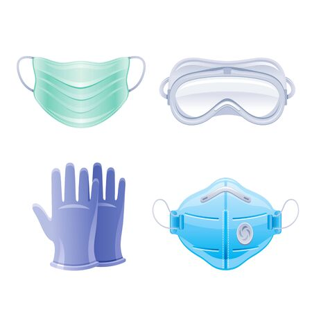 PPE icon set. Corona virus Covid 19 protect equipment. Respirator surgical mask, glasses, gloves Coronavirus prevention, medical elements collection. Vector illustration isolated on white background Illustration