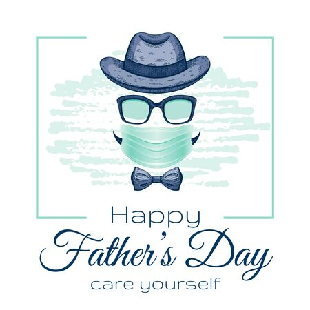 Happy Father s day card with vintage Dad face in surgical mask for coronavirus covid protection with slogan Care yourself. Cool sketch drawing with elegant typography. Isolated on white background