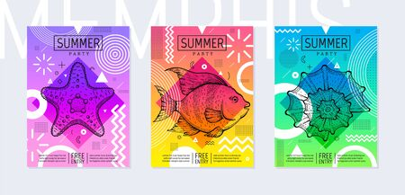 Rainbow summer poster set in geometric style. Disco light neon art. Memphis prism trendy element on color background. Sea sketch engraved for t-shirt print, music cover, disco banner, party invitation