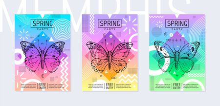Rainbow butterfly spring poster set in geometric style. Disco light neon art. Memphis prism trendy element on color background. Butterfly t-shirt print, music cover, disco banner, party invitation