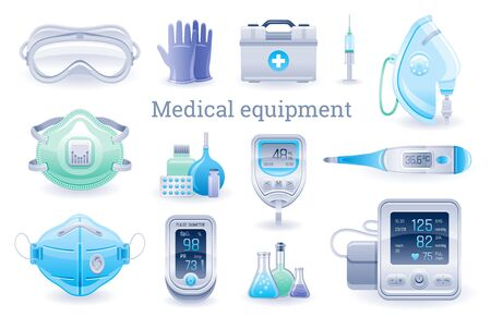 Medical device icon set. Pulse oximeter, tonometer, thermometer, oxygen mask, blood glucose meter, respirator. Coronavirus, Covid virus equipment. Health vector illustration isolated white background