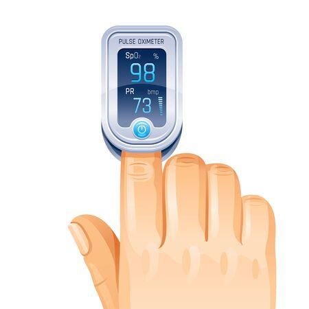Pulse Oximeter, finger medical device icon. Corona virus Covid protect equipment. Medical health icon for blood saturation. Coronavirus prevent element. Vector illustration isolated white background Vektorgrafik