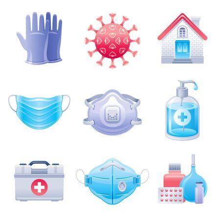 Coronavirus protection icon set. Virus Covid prevention collection, medical elements. Hand sanitizer, respirator mask, gloves, quarantine. Coronavirus vector illustration isolated white background