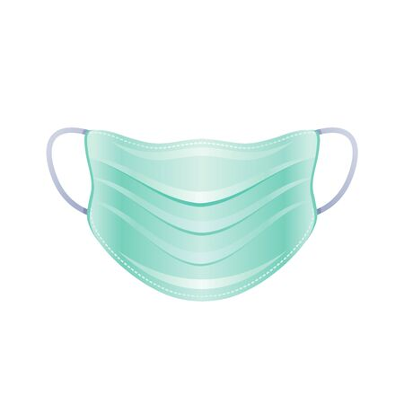 PPE surgical mask icon. Corona virus Covid 19 protect equipment. Respirator for coronavirus prevention, medical element. Vector illustration isolated on white background