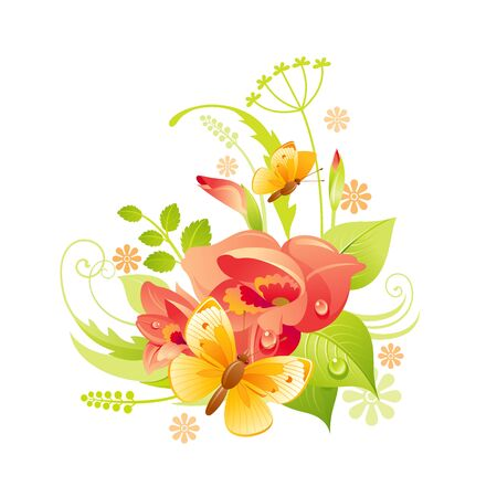 Spring flower icon. Gladiolus floral symbol with leaf, grass, butterfly. Summer natural vector illustration for Mother day or birthday greeting card, wedding invitation, cartoon poster decoration