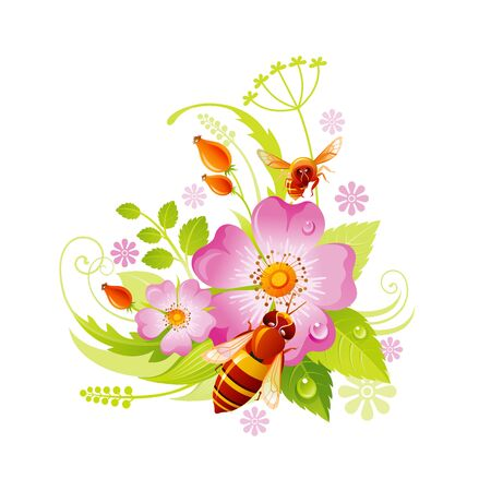 Spring flower icon. Rose hip floral symbol with leaf, grass, honeybee. Summer natural vector illustration for Mother day or birthday greeting card, wedding invitation, cartoon poster decoration