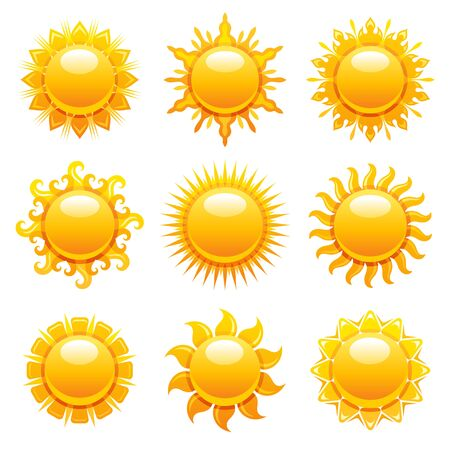 Sun icons. Vector summer sunshine illustration. Sunrise graphic with yellow heat weather symbol. Hot light sun shape set. Day, morning, sunset design isolated on white. Abstract gold sunny collection Ilustración de vector