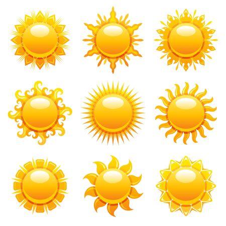 Sonne-Symbole. Vektor-Sommer-Sonnenschein-Illustration. Sonnenaufgangsgrafik mit gelbem Hitzewettersymbol. Heißes Licht Sonnenform-Set. Tag, Morgen, Sonnenuntergangdesign lokalisiert auf Weiß. Abstrakte goldene sonnige Sammlung Vektorgrafik