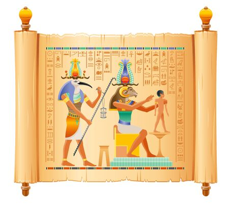 Egyptian papyrus with god Khnum, Thoth creating human man at potter wheel from clay. Ancient Egyptian deities in old historical paper art. Vector illustration isolated. Ancient Egypt hieroglyphs Illustration
