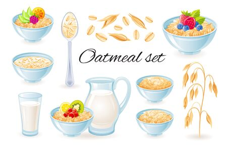 Oatmeal icons. Vector Oat meal in bowl with fruit berry. Milk jug, cup with porridge granola set. Healthy food for breakfast. Cartoon illustration of cereal muesli flakes isolated on white Standard-Bild - 147801189