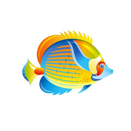 Tropical Fish, vector Angel Butterfly fish. Exotic Coral Reef animal, aquarium or sea blue Angelfish with yellow stripe. 3d cartoon ocean life icon. Isolated white background. Underwater illustration 向量圖像