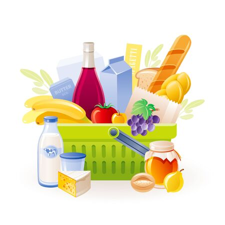 Food basket icon. Vector Supermarket shop cart, full of food. Grocery bag with product set fresh milk, fruit, vegetable, bread, wine. Cartoon store market illustration isolated on white background 向量圖像