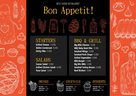 BBQ grill restaurant menu. Barbeque meat graphics for cafe poster, menu, leaflet, flyer, invitation design. Trendy hipster template with text, label, doodle food illustrations. Vintage sketch vector 向量圖像