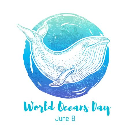 World Oceans Day graphics with blue whale and watercolor splash background. Vector poster design to save sea, water animals. Abstract ocean concept illustration with text isolated on white. Nature art Standard-Bild - 148128365