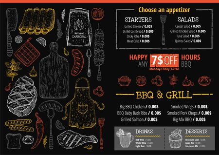 BBQ grill restaurant menu. Barbeque meat graphics for poster, menu, leaflet, flyer, invitation design. Trendy hipster template with text, label, doodle food illustrations. Vintage sketch chef vector 向量圖像