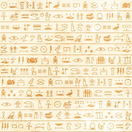 Hieroglyphs pattern Ancient egyptian swamless papyrus. Historical vector from Ancient Egypt. Old grunge manuscript with pharaoh and god symbols, script. Art design. Text letter papyrus illustration