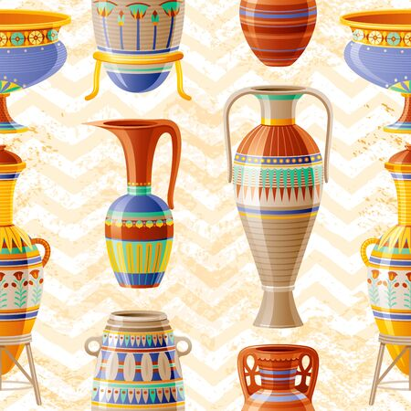Vase pattern. Pottery Seamless vector background with old clay Pot, Oil Jug, Urn, Amphora, Glass, Jar, Vase. Ancient Egyptian pattern. Antique ceramic art. Cartoon ethnic vintage decor on zig zag 向量圖像