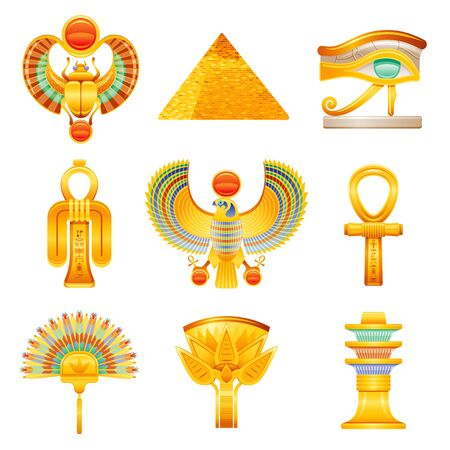 Ancient Egypt icon set. Egyptian pharaoh vector symbols. Ra sun Scarab, pyramid, Horus wadjet eye, Isis tyet knot, falcon, ankh, fan, lotus flower, Osiris djed pillar. Historical god myth collection 向量圖像