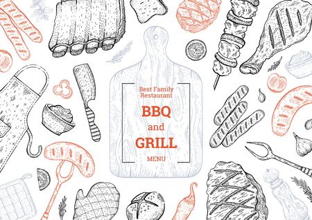 BBQ and Grill menu. Barbecue food party vector background with meat steak kebab chicken. Summer picnic poster design in vintage style. Doodle sketch flyer card illustration. BBQ Lunch template menu