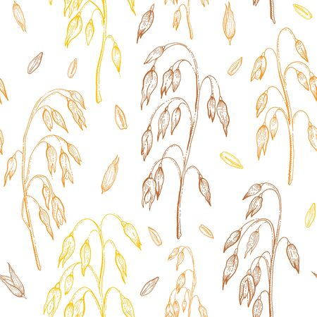 Oats vector pattern. Oatmeal seamless background. Cereal grain ears illustration. Hand drawn vintage ornament with straw, crop, seeds. Yellow field wallpaper. Sketch line engraved art isolated