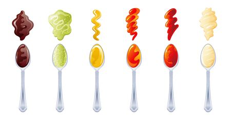 Spoons with sauces, spicy set. Soy sauce, Wasabi, Cheese Mustard, Tomato Ketchup, Hot Chili, Mayonnaise. Spoon and splash drop isolated on white background. Vector cooking illustration collection 向量圖像