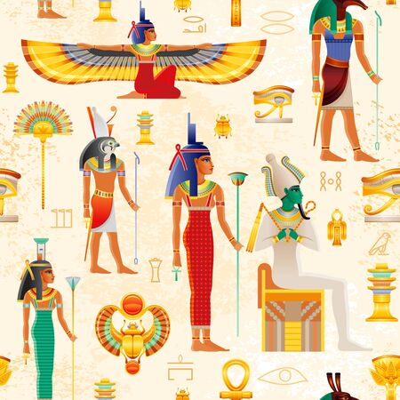 Egyptian vector seamless papyrus pattern with Osiris myth characters - god Osiris, Set, Horus, goddess Isis, Nephthys, pharaoh element - Ankh, Scarab, Tyet, eye Wadjet. Ancient historic art form Egypt
