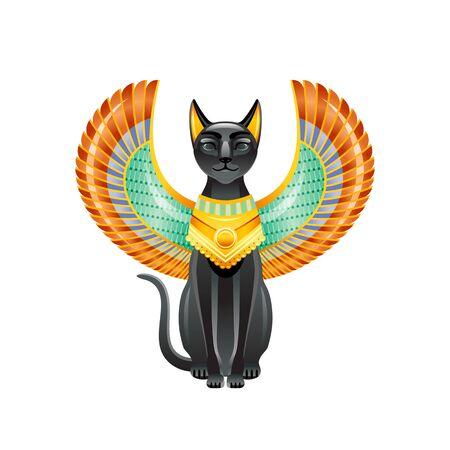 Egyptian Cat. Bastet goddess. Black cat with scarab wings and gold necklace. Satuette from ancient Egypt art. Cartoon 3d icon for  design. Old style vector illustration isolated white background 向量圖像