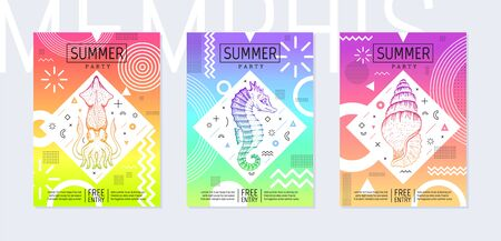 Rainbow summer flyer set in geometric 80th Memphis prism style. Disco light art. Sea tropical fish elements on neon memphis background. Cool t-shirt print, music cover, disco banner, party invitation